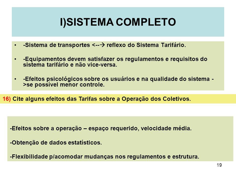 I)SISTEMA COMPLETO-Sistema de transportes <-- reflexo do Sistema Tarifário.