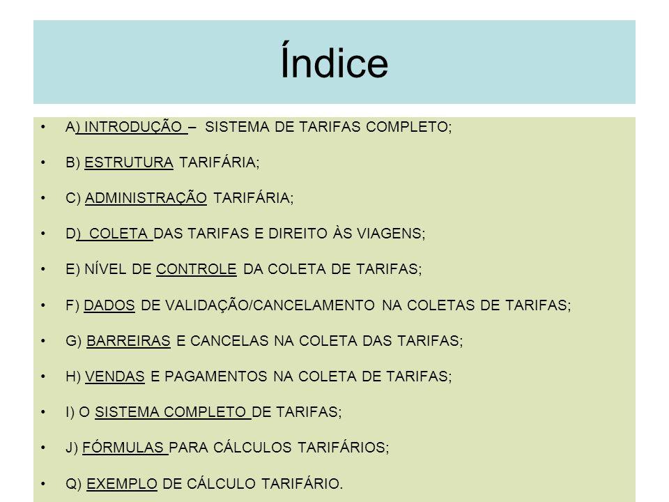 Índice A) INTRODUÇÃO – SISTEMA DE TARIFAS COMPLETO;