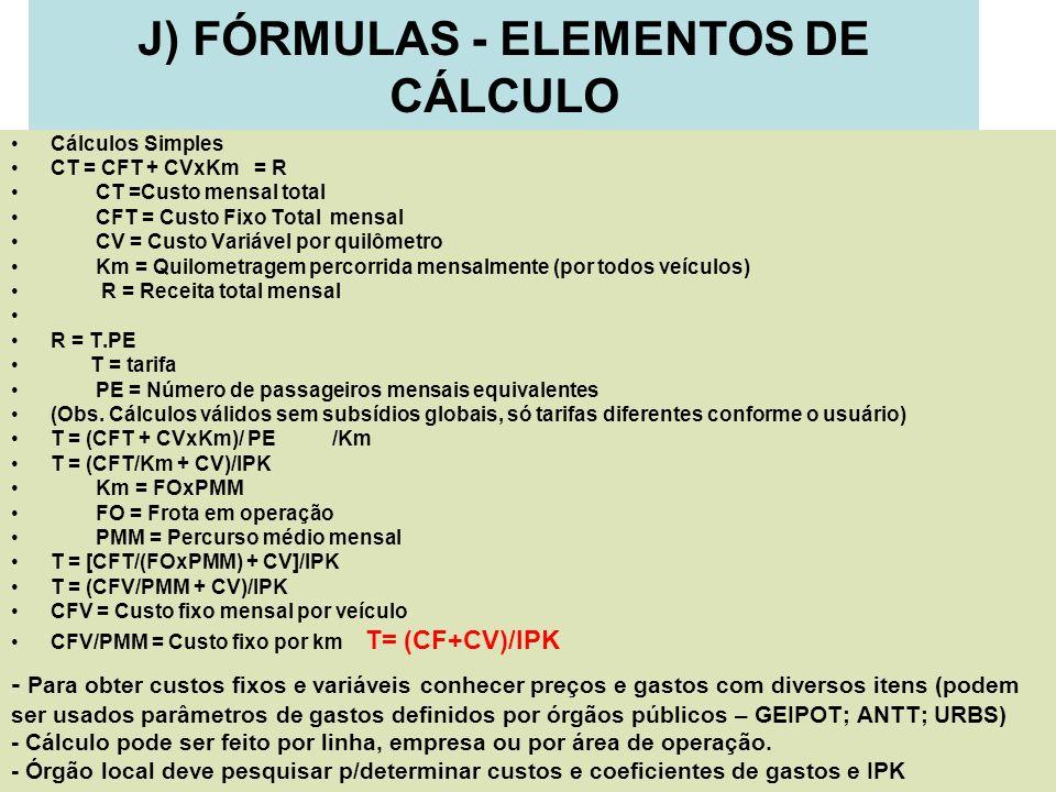 J) FÓRMULAS - ELEMENTOS DE CÁLCULO