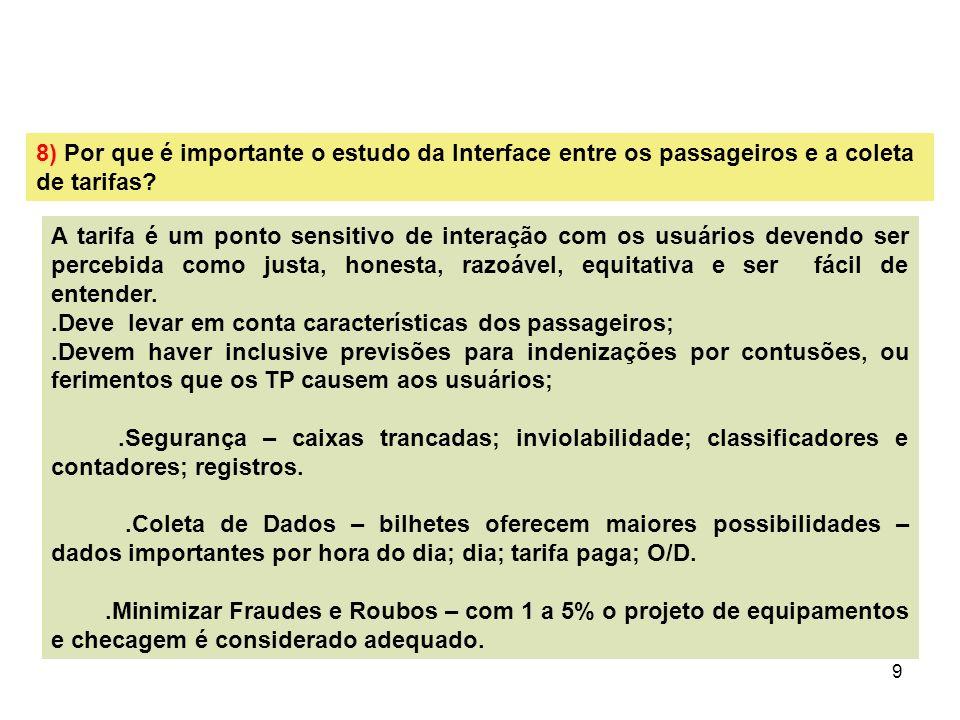 8) Por que é importante o estudo da Interface entre os passageiros e a coleta de tarifas
