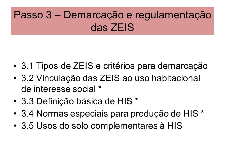 Passo 3 – Demarcação e regulamentação das ZEIS