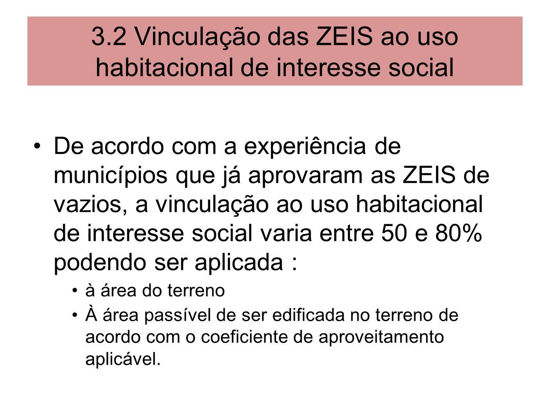 3.2 Vinculação das ZEIS ao uso habitacional de interesse social