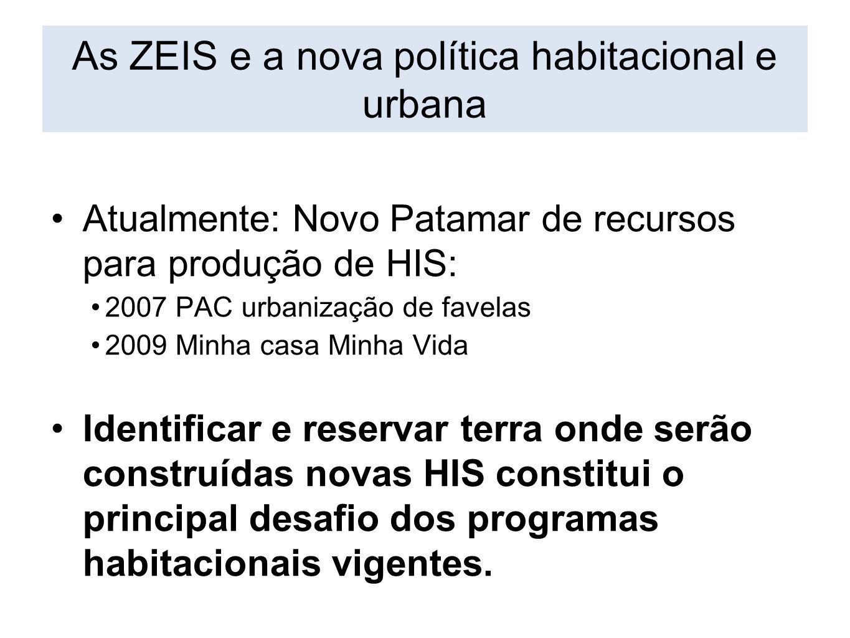 As ZEIS e a nova política habitacional e urbana