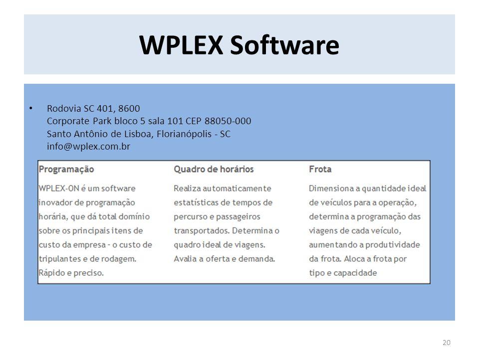 WPLEX Software Rodovia SC 401, 8600 Corporate Park bloco 5 sala 101 CEP 88050-000 Santo Antônio de Lisboa, Florianópolis - SC info@wplex.com.br.