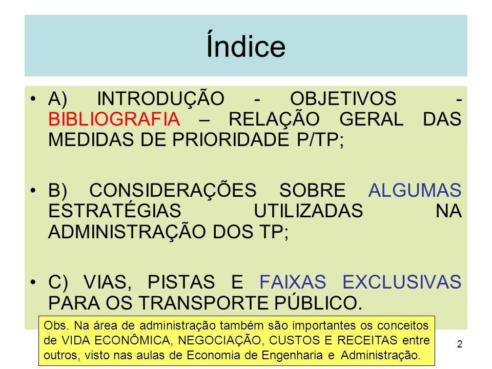 Índice A) INTRODUÇÃO - OBJETIVOS - BIBLIOGRAFIA – RELAÇÃO GERAL DAS MEDIDAS DE PRIORIDADE P/TP;