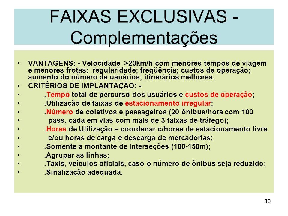 FAIXAS EXCLUSIVAS - Complementações