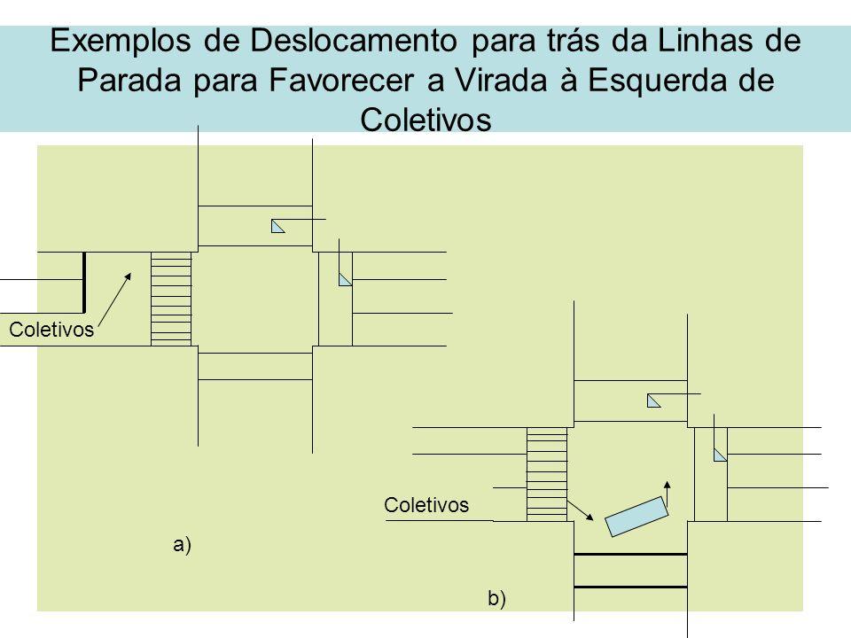 Exemplos de Deslocamento para trás da Linhas de Parada para Favorecer a Virada à Esquerda de Coletivos