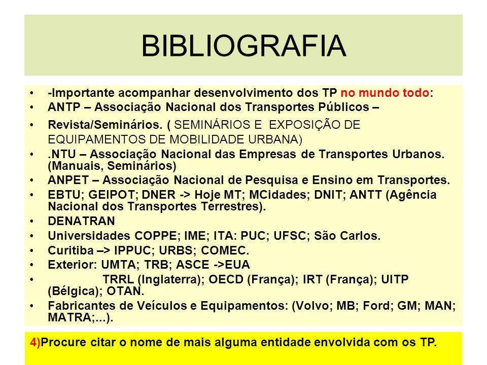 BIBLIOGRAFIA -Importante acompanhar desenvolvimento dos TP no mundo todo: ANTP – Associação Nacional dos Transportes Públicos –