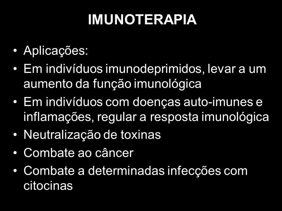 IMUNOTERAPIA Aplicações: