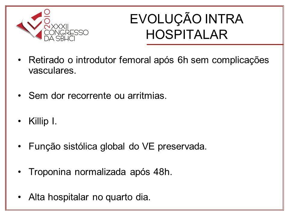 EVOLUÇÃO INTRA HOSPITALAR