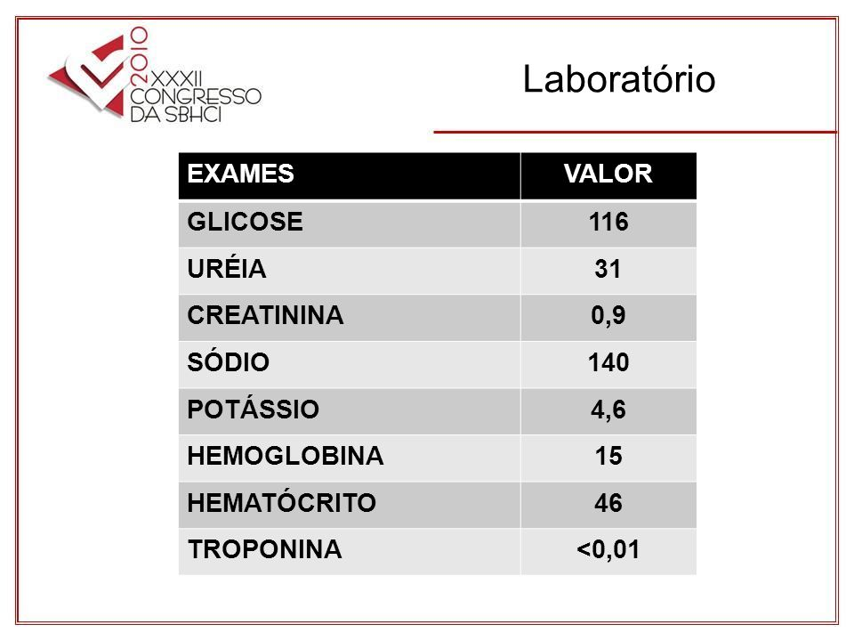 Laboratório EXAMES VALOR GLICOSE 116 URÉIA 31 CREATININA 0,9 SÓDIO 140