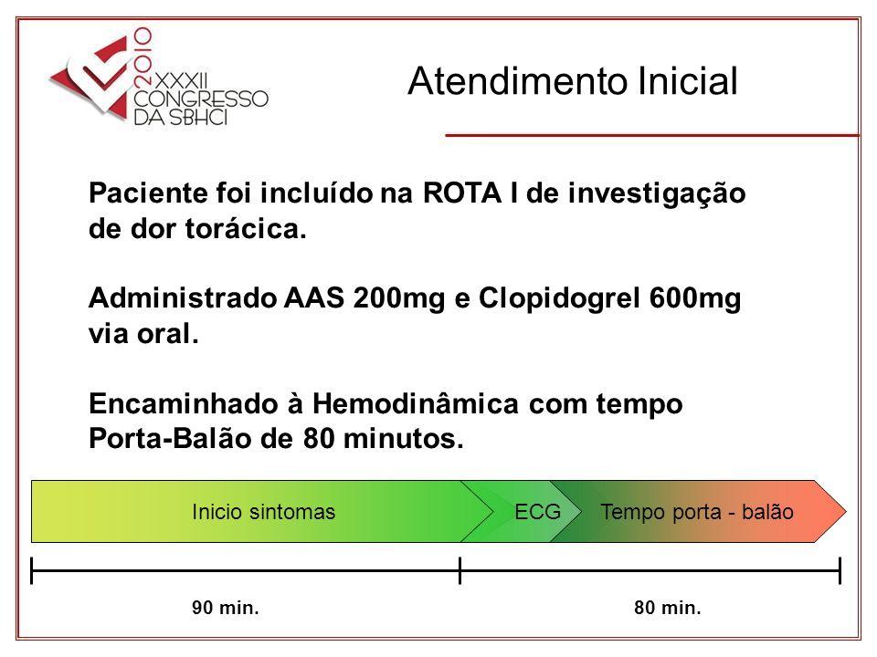 Atendimento Inicial Paciente foi incluído na ROTA I de investigação de dor torácica. Administrado AAS 200mg e Clopidogrel 600mg via oral.