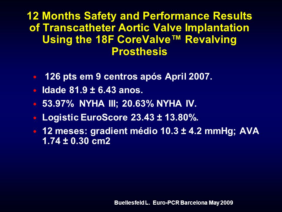 12 Months Safety and Performance Results of Transcatheter Aortic Valve Implantation Using the 18F CoreValve™ Revalving Prosthesis