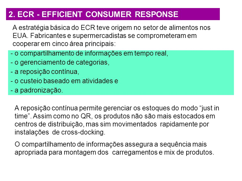 2. ECR - EFFICIENT CONSUMER RESPONSE