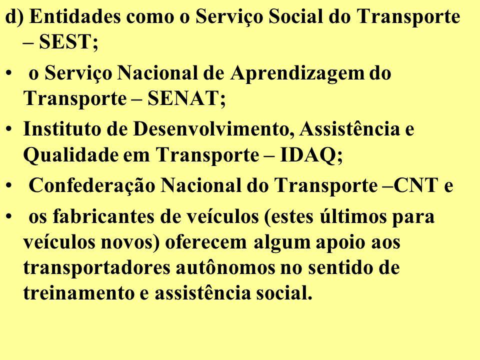 d) Entidades como o Serviço Social do Transporte – SEST;