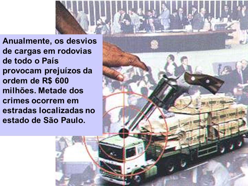 Anualmente, os desvios de cargas em rodovias de todo o País provocam prejuízos da ordem de R$ 600 milhões.