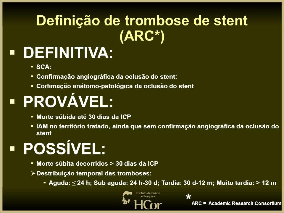 Definição de trombose de stent (ARC*)