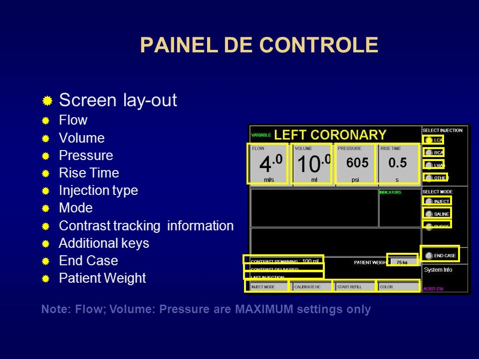 PAINEL DE CONTROLE Screen lay-out Flow Volume Pressure Rise Time