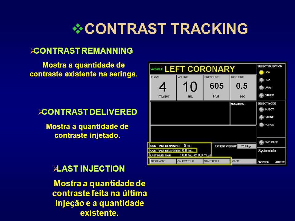 CONTRAST TRACKING CONTRAST REMANNING CONTRAST DELIVERED LAST INJECTION