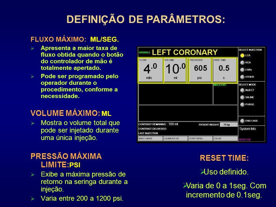 DEFINIÇÃO DE PARÂMETROS: