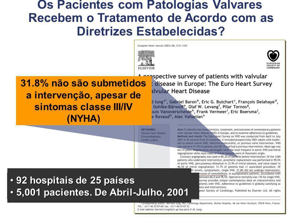 Os Pacientes com Patologias Valvares Recebem o Tratamento de Acordo com as Diretrizes Estabelecidas