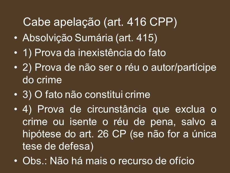 Cabe apelação (art. 416 CPP)