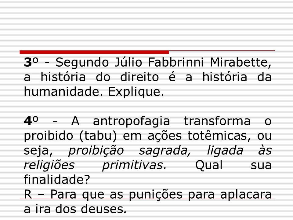3º - Segundo Júlio Fabbrinni Mirabette, a história do direito é a história da humanidade. Explique.