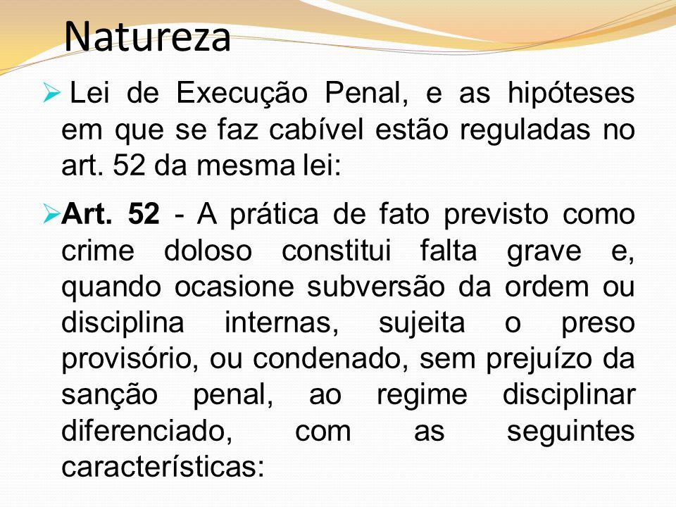 Natureza Lei de Execução Penal, e as hipóteses em que se faz cabível estão reguladas no art. 52 da mesma lei: