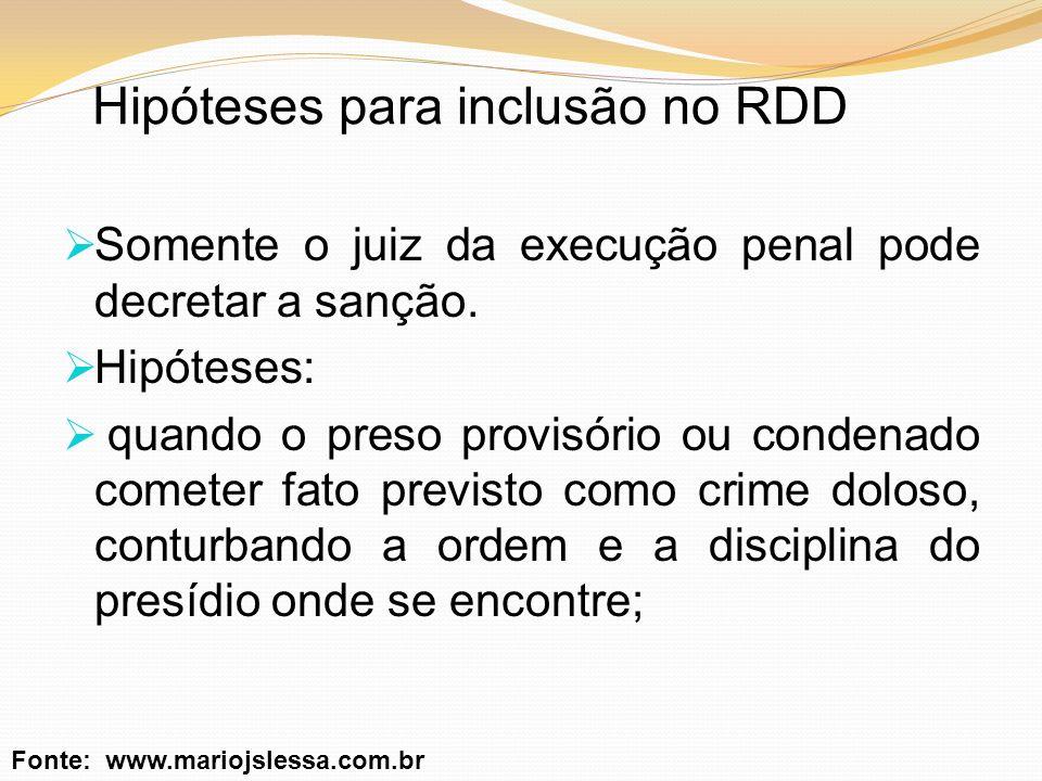 Hipóteses para inclusão no RDD