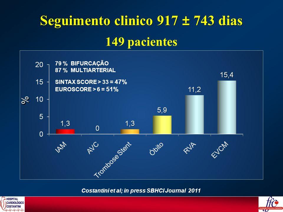 Seguimento clinico 917 ± 743 dias