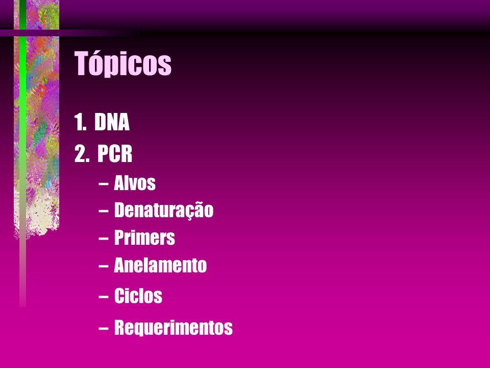 Tópicos 1. DNA 2. PCR Alvos Denaturação Primers Anelamento Ciclos