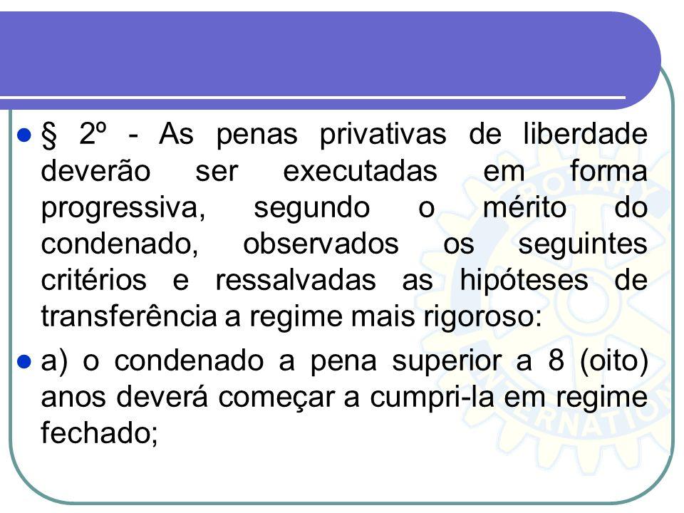 § 2º - As penas privativas de liberdade deverão ser executadas em forma progressiva, segundo o mérito do condenado, observados os seguintes critérios e ressalvadas as hipóteses de transferência a regime mais rigoroso: