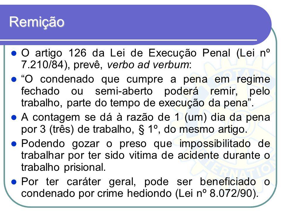 Remição O artigo 126 da Lei de Execução Penal (Lei nº 7.210/84), prevê, verbo ad verbum: