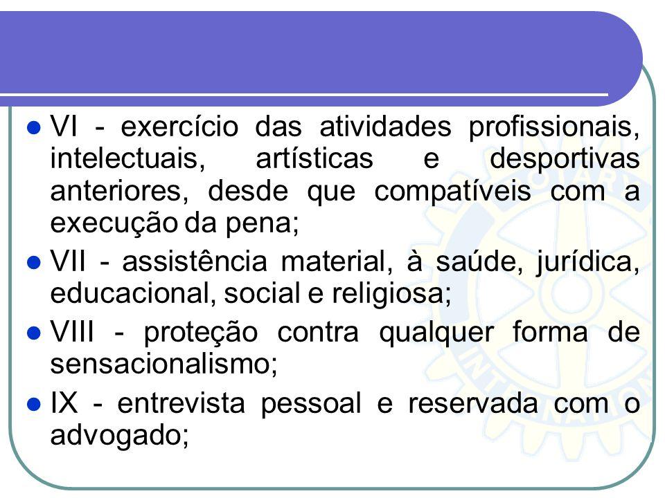 VI - exercício das atividades profissionais, intelectuais, artísticas e desportivas anteriores, desde que compatíveis com a execução da pena;