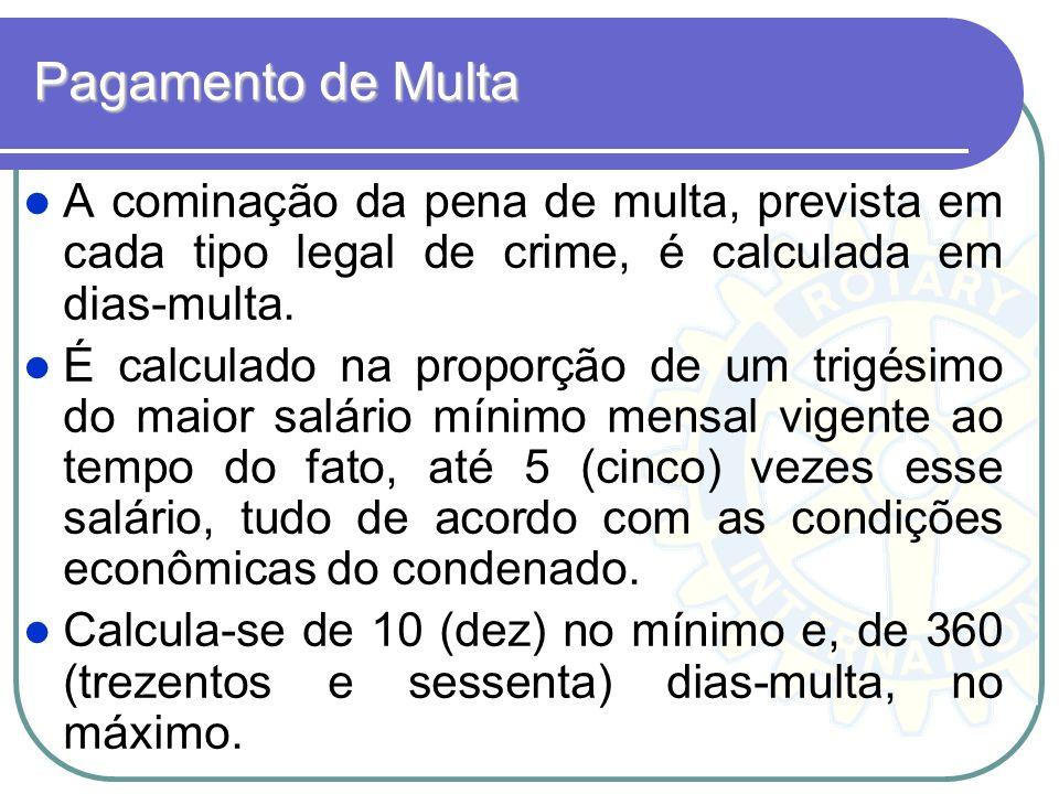 Pagamento de Multa A cominação da pena de multa, prevista em cada tipo legal de crime, é calculada em dias-multa.