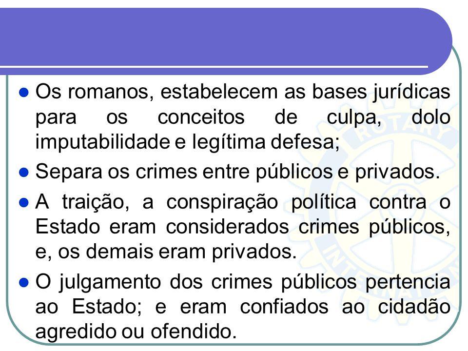 Os romanos, estabelecem as bases jurídicas para os conceitos de culpa, dolo imputabilidade e legítima defesa;