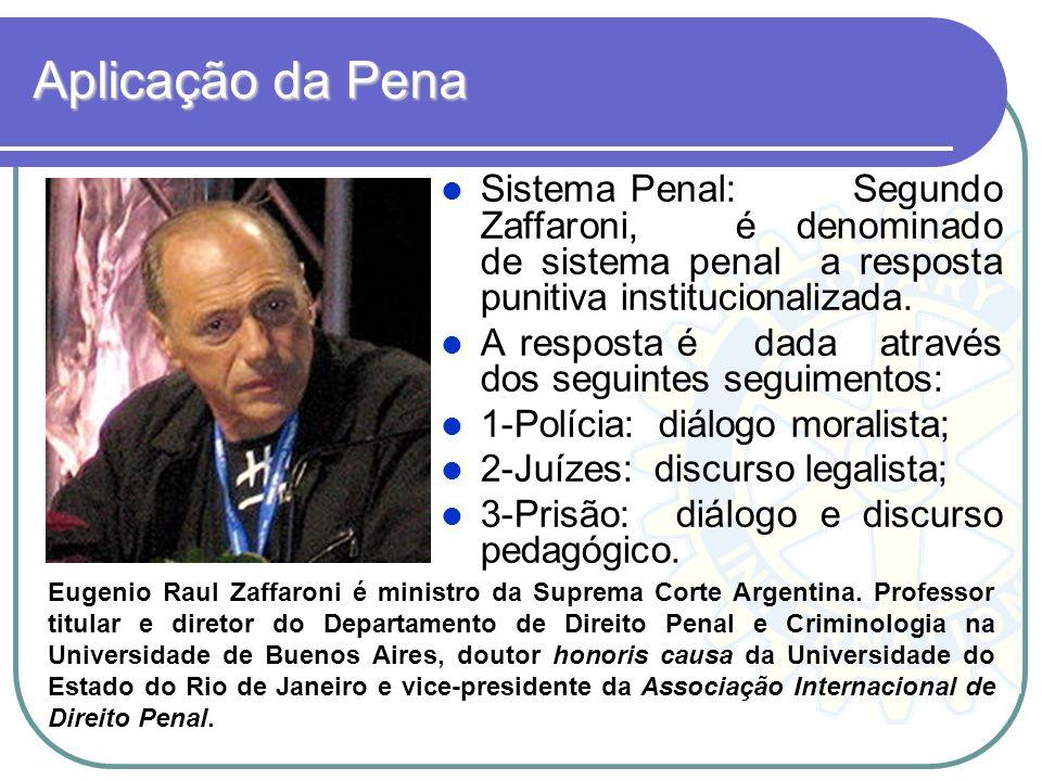 Aplicação da Pena Sistema Penal: Segundo Zaffaroni, é denominado de sistema penal a resposta punitiva institucionalizada.