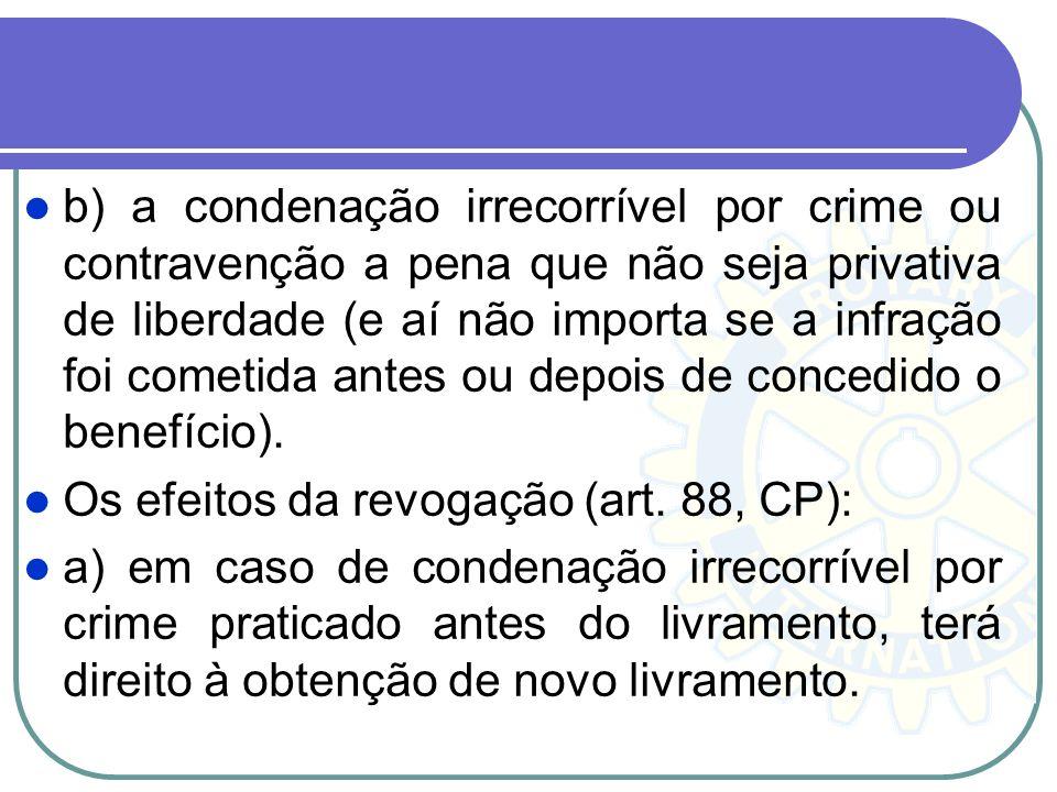 b) a condenação irrecorrível por crime ou contravenção a pena que não seja privativa de liberdade (e aí não importa se a infração foi cometida antes ou depois de concedido o benefício).