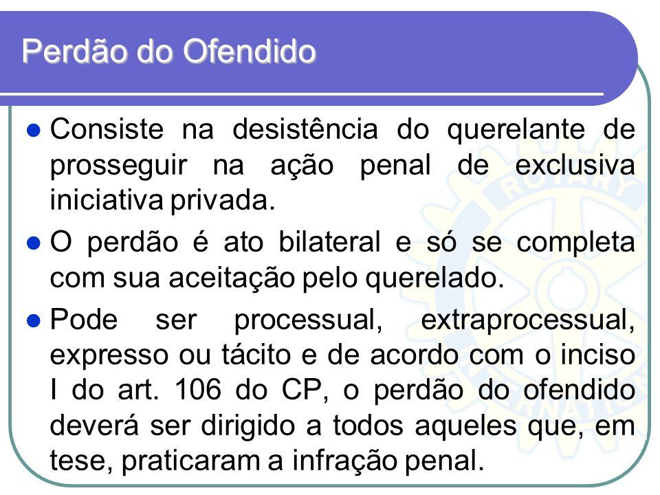 Perdão do Ofendido Consiste na desistência do querelante de prosseguir na ação penal de exclusiva iniciativa privada.