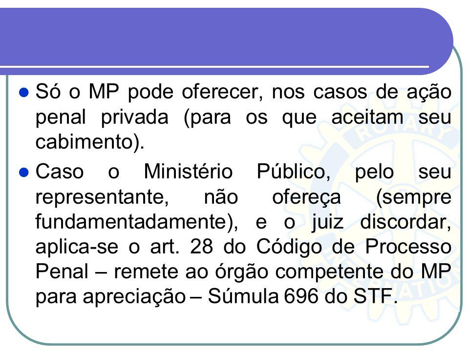Só o MP pode oferecer, nos casos de ação penal privada (para os que aceitam seu cabimento).