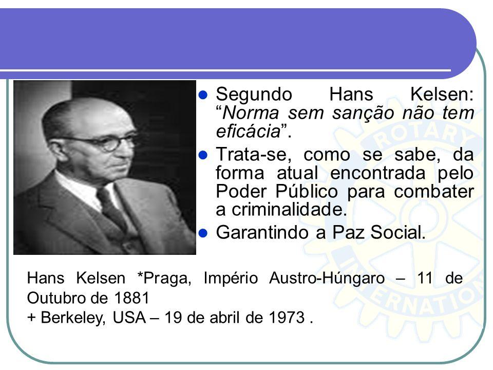 Segundo Hans Kelsen: Norma sem sanção não tem eficácia .