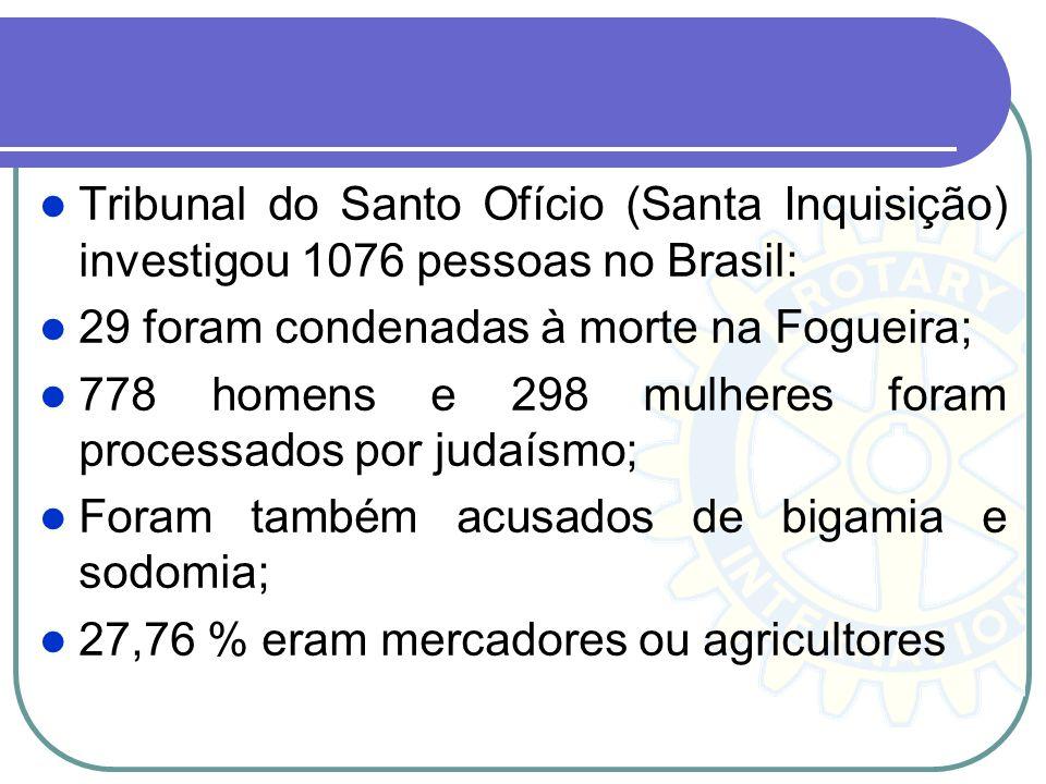 Tribunal do Santo Ofício (Santa Inquisição) investigou 1076 pessoas no Brasil: