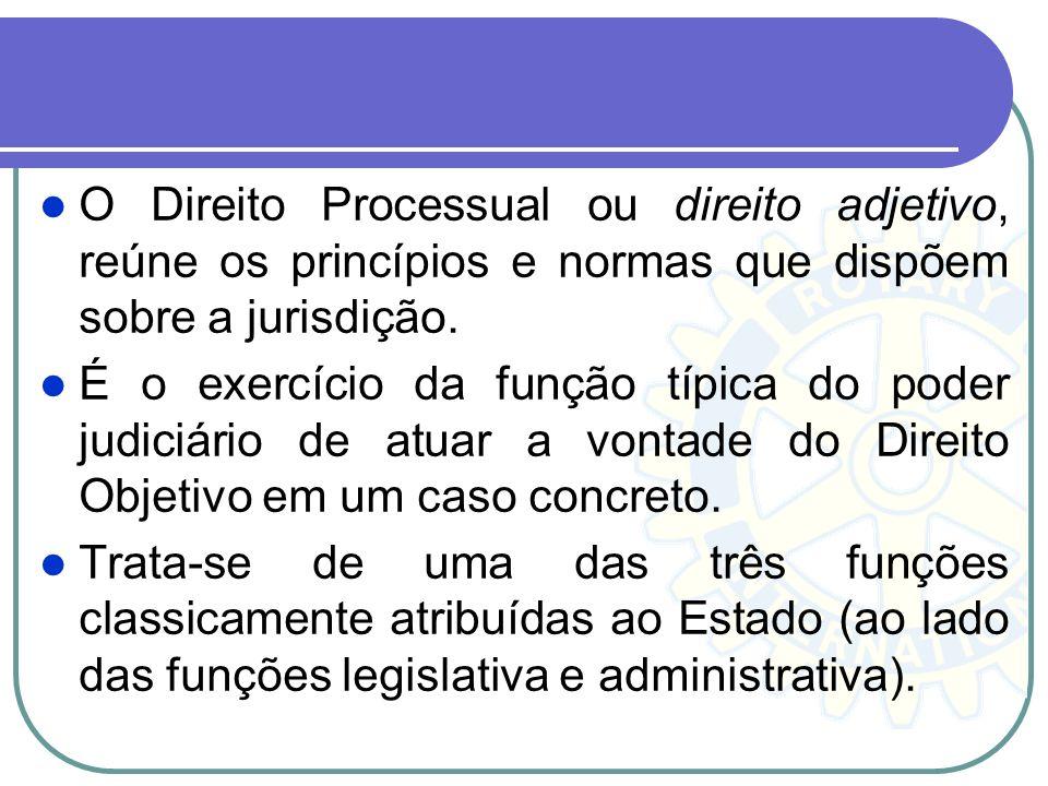 O Direito Processual ou direito adjetivo, reúne os princípios e normas que dispõem sobre a jurisdição.