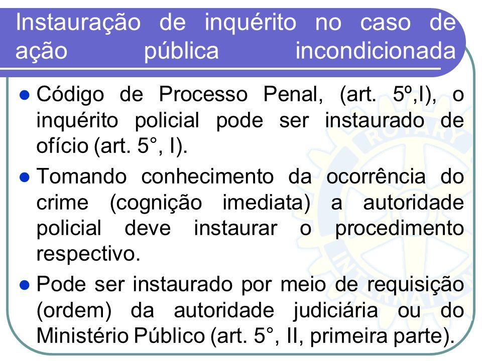 Instauração de inquérito no caso de ação pública incondicionada .