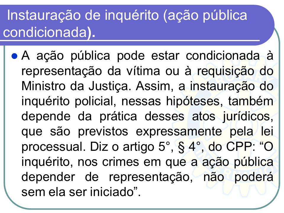 Instauração de inquérito (ação pública condicionada).