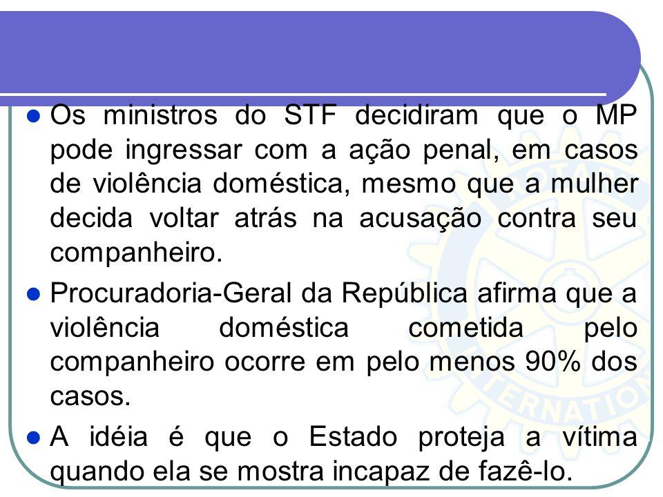 Os ministros do STF decidiram que o MP pode ingressar com a ação penal, em casos de violência doméstica, mesmo que a mulher decida voltar atrás na acusação contra seu companheiro.