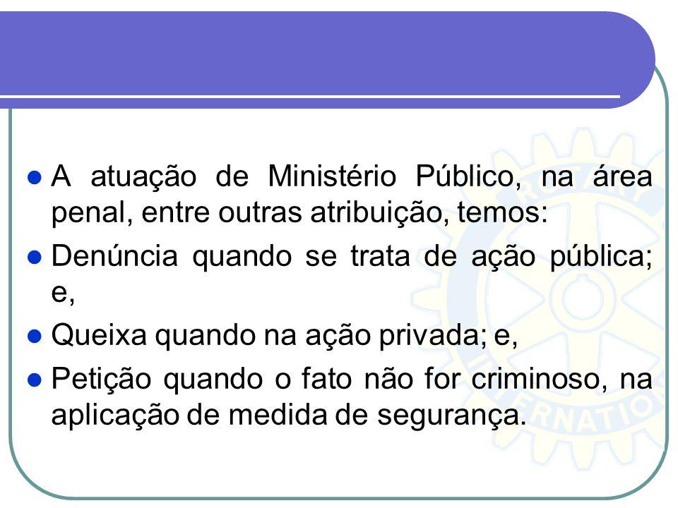A atuação de Ministério Público, na área penal, entre outras atribuição, temos: