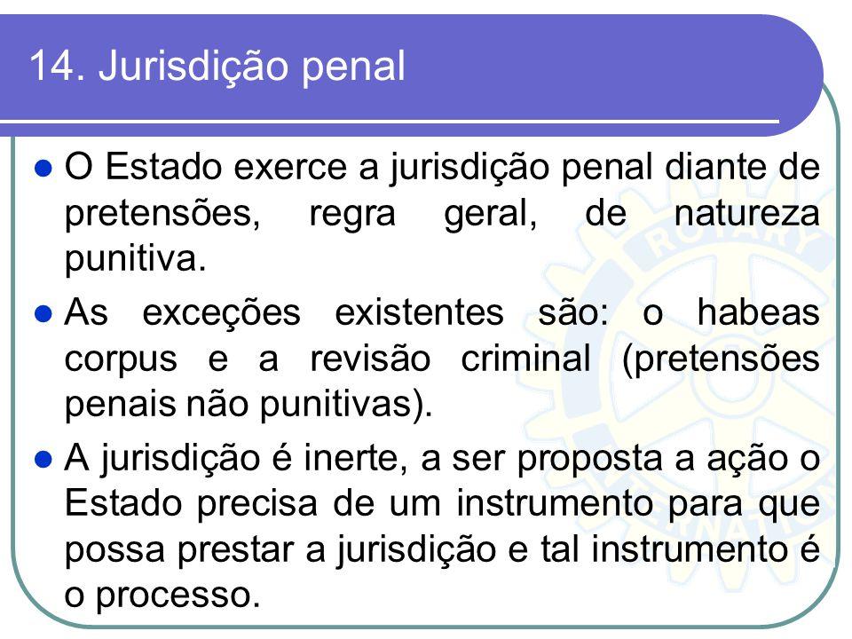 14. Jurisdição penal O Estado exerce a jurisdição penal diante de pretensões, regra geral, de natureza punitiva.