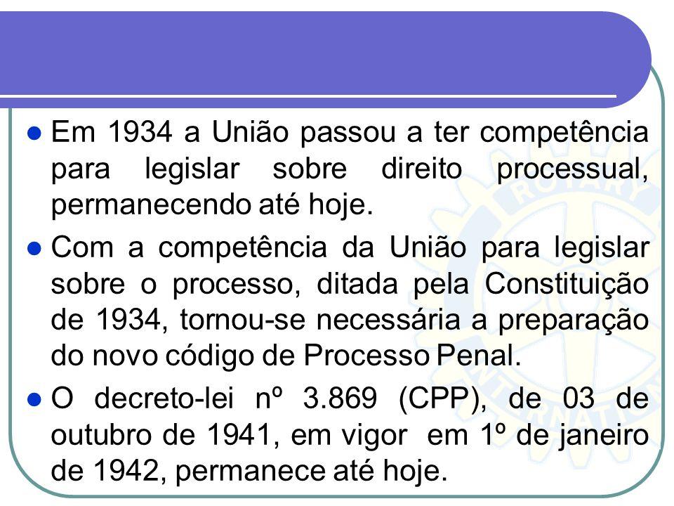 Em 1934 a União passou a ter competência para legislar sobre direito processual, permanecendo até hoje.
