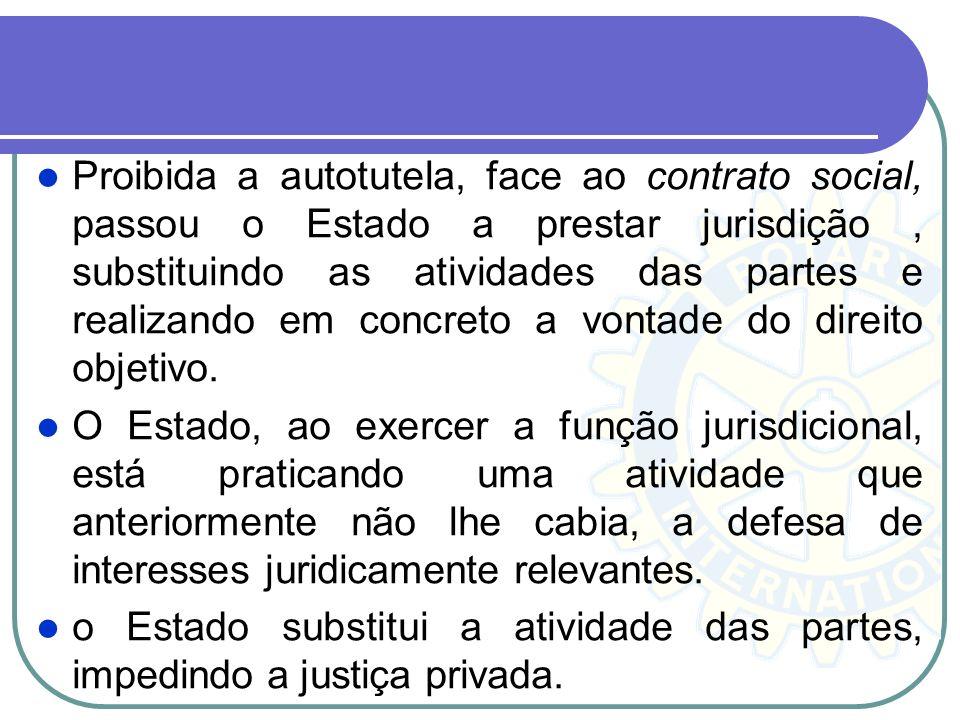 Proibida a autotutela, face ao contrato social, passou o Estado a prestar jurisdição , substituindo as atividades das partes e realizando em concreto a vontade do direito objetivo.